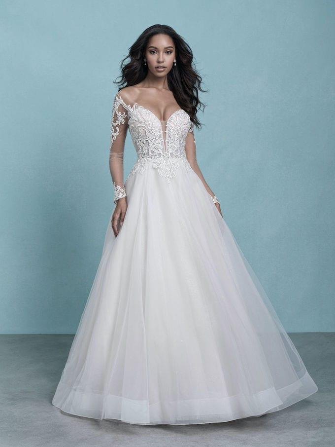 ballgown wedding dress with sleeves fairytale