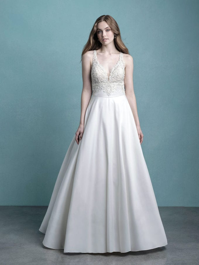 Satin mikado skirt wedding dress with delicated beaded body and stunning train